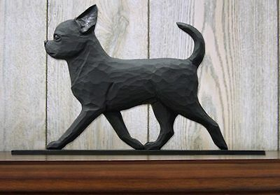 Chihuahua Figurine Sign Plaque Display Wall Decoration Black