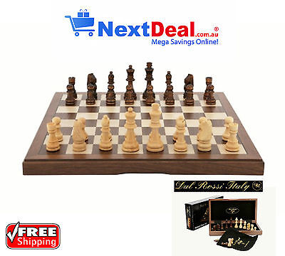 "Dal Rossi Italy Premium Chess Set 15"" Walnut Inlaid Folding Box & Piece Bags"