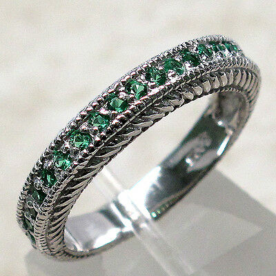 Amazing Emerald 925 Sterling Silver Band Ring Size 5-10