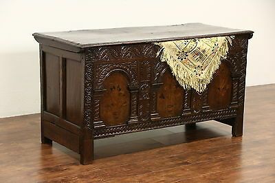 French Carved Oak 1700's Antique Trunk or Dowry Chest, Marquetry