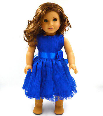 "Fits 18"" American Girl Madame Alexander Handmade Doll Clothes blue dress MG021"