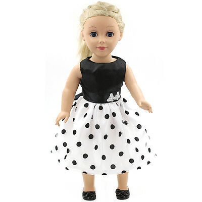 Handmade Black & white Doll Clothes Dress Fit for 18 Inch American Girl Dolls
