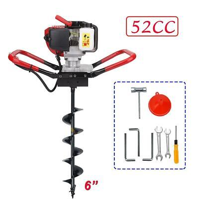 """2.3HP 56cc Power Engine Gas Powered One Man Post Hole Digger 6"""" Auger Drill Bits"""