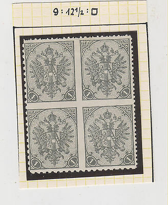 BOSNIA,AUSTRIA,1900,1 H,bloc of 4,between imperforated,mixed perforation,hinged