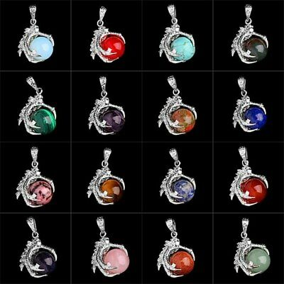 New Dragon Claw Wrap Ball Pendant Bead Gemstone Natural Necklace Multi-Colors