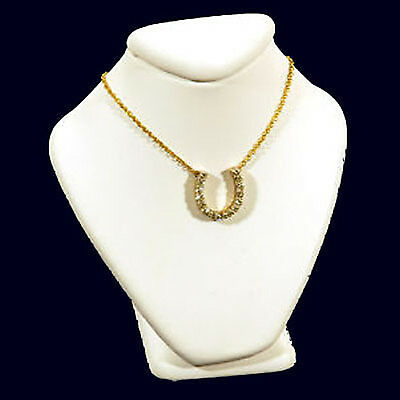 """New White Leather Necklace Jewelry Display Busts 2 5/8"""""""