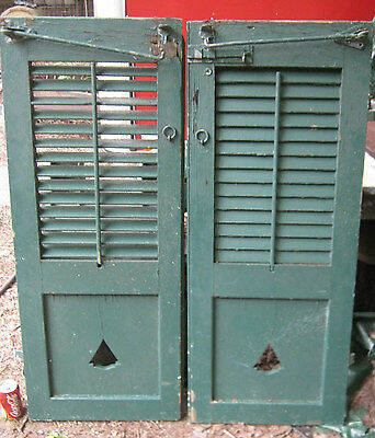 2 Antique Country Primitive Garden Home Tree Art Wood Shutters Iron Hardware Usa