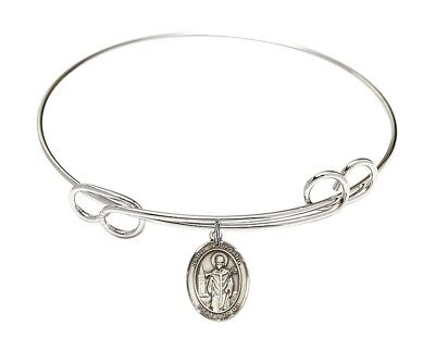 Silver Tone Double Loop Bangle Bracelet with Saint Wolfgang Charm, 8 Inch