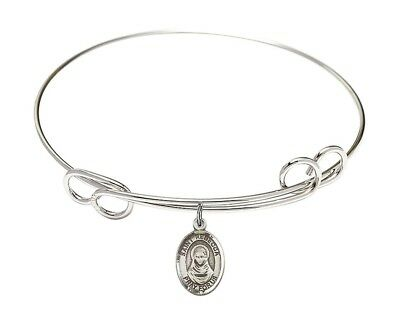 Silver Tone Double Loop Bangle Bracelet with Saint Rebecca Charm, 8 Inch
