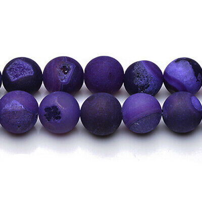 Agate Druzy Round Beads 14mm Purple 25+ Pcs Frosted  Gemstones Jewellery Making