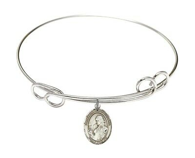 Silver Tone Loop Bangle Bracelet with Saint Finnian of Clonard Charm, 8 1/2 Inch