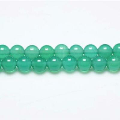 Strand Of 44+ Green Onyx 8mm Plain Round Beads GS0616-3