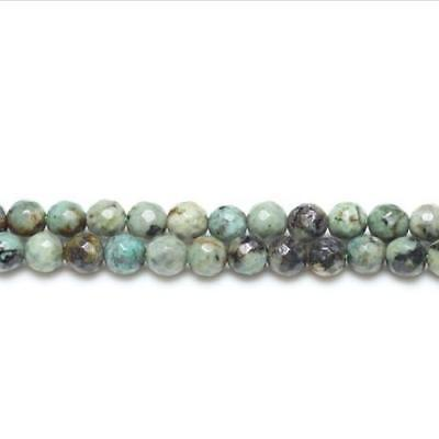 Strand Of 62+ Blue/Green African Turquoise 6mm Faceted Round Beads GS2765-2