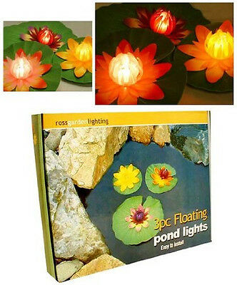 Floating Pond Lights Pool Water Set of 3 Lily Flowers Outdoor Garden Lighting