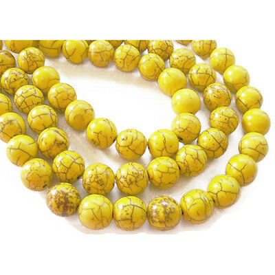 Strand Of 38+ Yellow Dyed Howlite 10mm Plain Round Beads GS2439-3