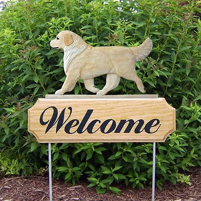 Golden Retriever Oak Wood Welcome Outdoor Yard Sign Cream