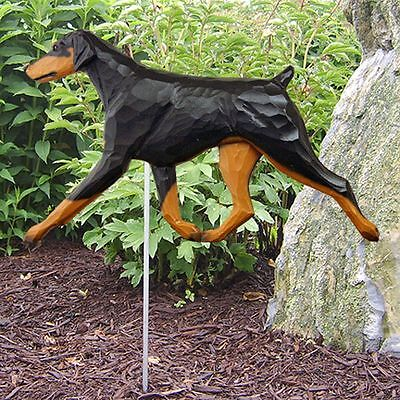 Doberman Pinscher Outdoor Garden Sign Hand Painted Figure Black/Tan Uncropped