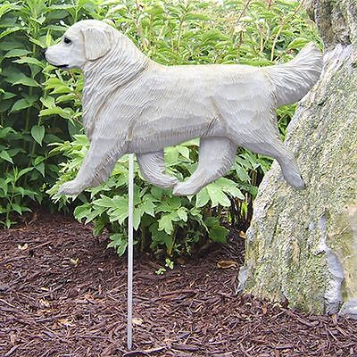 Golden Retriever Outdoor Garden Sign Hand Painted Figure Cream