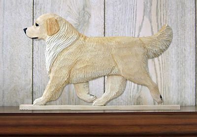 Golden Retriever Figurine Sign Plaque Display Wall Decoration Cream