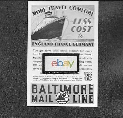 Baltimore Mail Line To England-France-Germany More Travel Comfort 1936 Ad