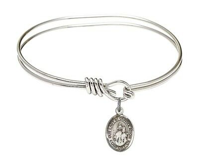 Silver Tone Our Lady of Consolation Charm Eye Hook Bangle Bracelet , 5 3/4 Inch