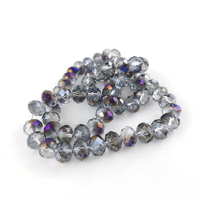 Strand 70+  Purple Czech Crystal Glass 8 x 10mm Faceted Rondelle Beads GC9596-4