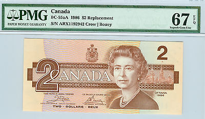 1986 CANADA $2 ARX BC-55aA REPLACEMENT CROW BOUEY PMG 67 EPQ FINEST GRADED