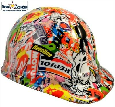 Hydro Dipped Cap Style Hard Hat with Ratchet Suspension- Sticker Bomb - Fun!