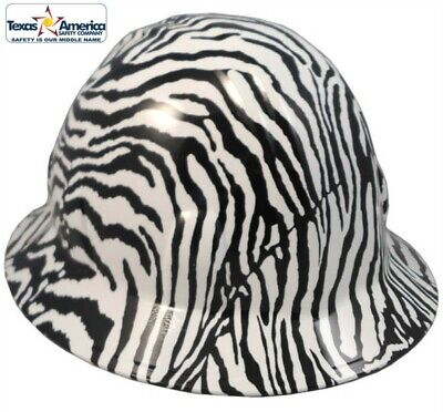 Hydro Dipped FULL BRIM Hard Hat with Ratchet Suspension- Zebra Pattern -  WILD! 5c9a872a8d95