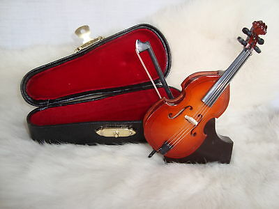 """Upright Bass Miniature Only 4"""" Long Case & Stand Great Music Gift NIB"""