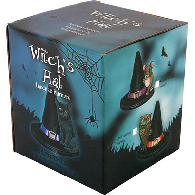 Witches Hat With Mouse, Owl Or Frog Incense Cone Burner. Pagan / Wicca. Boxed