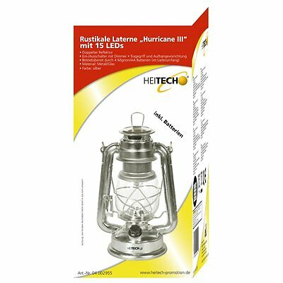 Heitech Rustikale Laterne Hurricane III mit 15 LEDs - Lampe Beleuchtung Licht