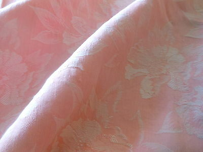 Antique Vintage French Pink Wild Roses Floral Cotton Damask Ticking Fabric