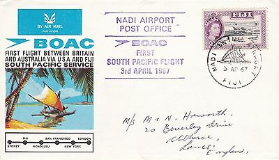 FIJI  1967 FIRST South Pacific FLIGHT 2s6d Stamp NADI Airport CDS PMK Ref:A76