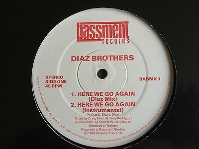 "THE DIAZ BROTHERS Here We Go Again UK 12"" 1988 VG+ vinyl record Hip Hop Breaks"