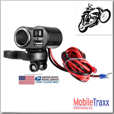 """7/8"""" 30A Motorcycle Heavy Duty Lighter Socket/USB Power Charger/Power Switch"""