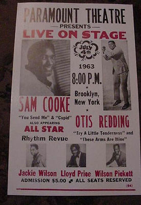 SAM COOKE OTIS REDDING 60s CONCERT POSTER BROOKLYN NYC 1963 art New York city