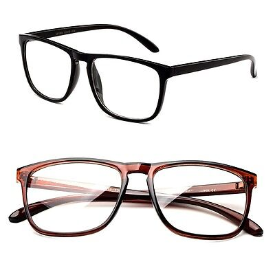 8db2c2006584 Classic Retro Inspired Clear Lens Squared Solid Color Frame Glasses No Logo