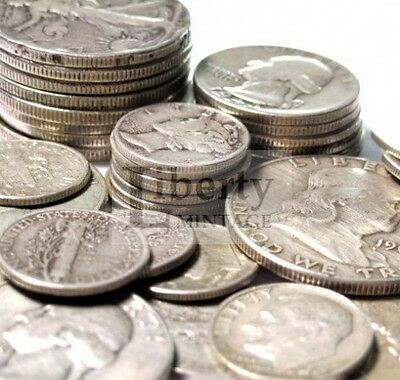 $1 Face Value - 90% Silver US Coin Lot - Half Dollars, Quarters or Dimes