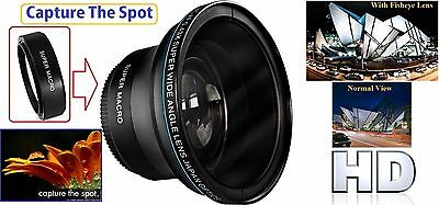 58mm Compatible Super Hi Def 0.17x Fisheye Lens for Canon Powershot SX60 SX50 SX30 SX520 HS