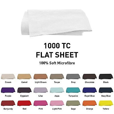 1000TC Microfibre 1pc Flat/Top Sheet [Only] SINGLE/DOUBLE/QUEEN/KING/SUPER Size