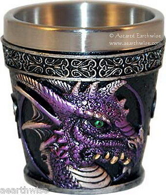 PURPLE DRAGON SHOT GLASS Wicca Pagan Witch Goth Ritual Spell Altar