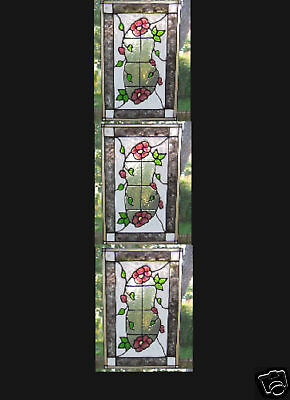3 faux stained glass floral sidelight window clings
