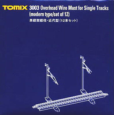 TOMIX N Scale : 3003 Overhead Wire Mast for Singel Track (Modern Type/Set of 12)