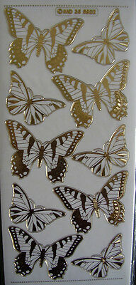 Peel Off BUTTERFLIES  LARGE GOLD DOUBLE EMBOSSED X 2 SHEETS