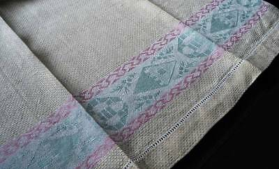 Vintage Pair Yellow Green Linen Damask Guest Towels Pink Abstract Shapes
