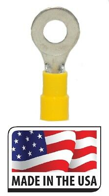 """Made in the USA w// 3M Heat Shrink 50 Pk Yellow 10-12 Ga Ring Terminals 5//16/"""""""