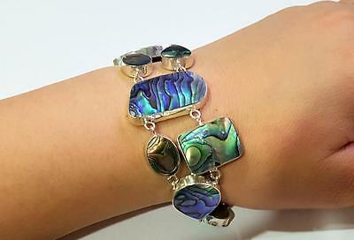 Natural Abalone Shell 925 Sterling Silver Statement Bracelet Women Jewelry SC181