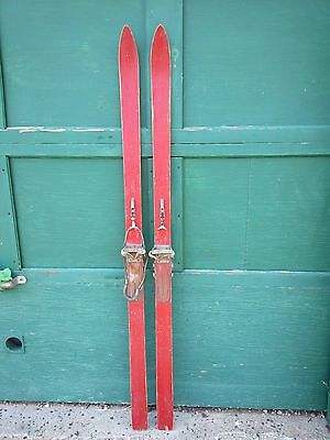 """VINTAGE Wooden 65"""" Skis With Red Finish and Has Bindings"""