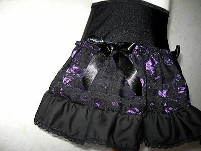 NEW Girls Black Purple red green floral brocade lace party skirt gift goth rock